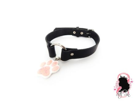 Black O Ring and Paw Print Choker